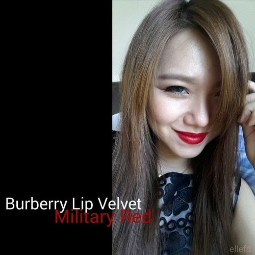 Happy Red with Burberry Lip Velvet in Military Red 😘😗 #MOTD #POTD #LOTD #redlips #nofilter #makeupjunkie #tagsforlikes #statigram #webstagram #tumblr #femaledaily #FDbeauty #clozette #clozetteid #clozettedaily