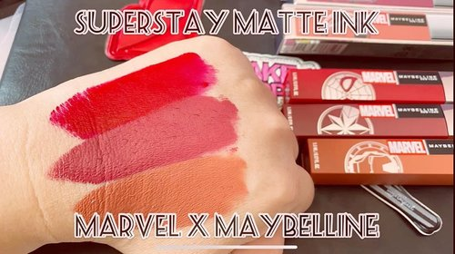 #MarvelXMaybelline presenting Ironman, Spiderman and Capt. Marvel. SuperStay Matte Ink from #MaybellineIndonesia ini emang udah terkenal bagus, gak mahal, dan tahan sampe 16 jam, bahkan lebih kalau gak di rub. Full video ada di:https://youtu.be/kDDdUUK2eZIPsssttt, what is your favorite color? #igbeauty @maybelline #swipeonyoursuperpower #instabeauty #mattelips #redlips #beauty #beautyinfluencer #beautyvlogger #swatches #makeup #motd #makeuptoday #clozetteID #lippies #potd #lotd