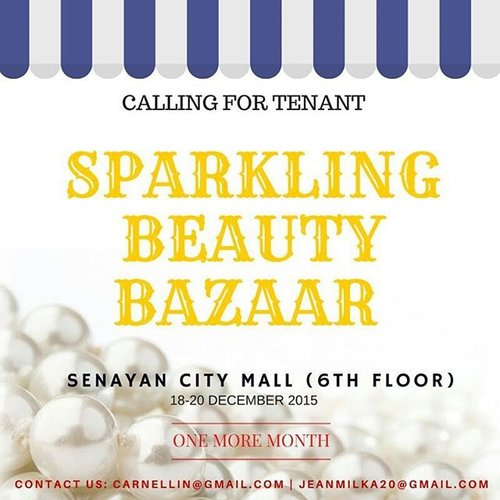 """<div class=""""photoCaption"""">Wooottt!!! Calling all tenants, brands, beauty blogger, public, everyone who wants to participate. Contact us for proposals at carnellin@gmail.com or jeanmilka20@gmail.com <br /> Whatsapp and line @carnellin <br /> We also have space for workshop and talkshows, come and join us!!  <a class=""""pink-url"""" target=""""_blank"""" href=""""http://m.clozette.co.id/search/query?term=bazaarjakarta&siteseach=Submit"""">#bazaarjakarta</a>  <a class=""""pink-url"""" target=""""_blank"""" href=""""http://m.clozette.co.id/search/query?term=bazaar&siteseach=Submit"""">#bazaar</a>  <a class=""""pink-url"""" target=""""_blank"""" href=""""http://m.clozette.co.id/search/query?term=bukalapak&siteseach=Submit"""">#bukalapak</a>  <a class=""""pink-url"""" target=""""_blank"""" href=""""http://m.clozette.co.id/search/query?term=clozetteid&siteseach=Submit"""">#clozetteid</a>  <a class=""""pink-url"""" target=""""_blank"""" href=""""http://m.clozette.co.id/search/query?term=jualan&siteseach=Submit"""">#jualan</a>  <a class=""""pink-url"""" target=""""_blank"""" href=""""http://m.clozette.co.id/search/query?term=jualankaka&siteseach=Submit"""">#jualankaka</a>  <a class=""""pink-url"""" target=""""_blank"""" href=""""http://m.clozette.co.id/search/query?term=kosmetik&siteseach=Submit"""">#kosmetik</a>  <a class=""""pink-url"""" target=""""_blank"""" href=""""http://m.clozette.co.id/search/query?term=cosmetic&siteseach=Submit"""">#cosmetic</a>  <a class=""""pink-url"""" target=""""_blank"""" href=""""http://m.clozette.co.id/search/query?term=juallipstick&siteseach=Submit"""">#juallipstick</a>  <a class=""""pink-url"""" target=""""_blank"""" href=""""http://m.clozette.co.id/search/query?term=jual&siteseach=Submit"""">#jual</a>  <a class=""""pink-url"""" target=""""_blank"""" href=""""http://m.clozette.co.id/search/query?term=bukabazaar&siteseach=Submit"""">#bukabazaar</a>  <a class=""""pink-url"""" target=""""_blank"""" href=""""http://m.clozette.co.id/search/query?term=senayancity&siteseach=Submit"""">#senayancity</a></div>"""
