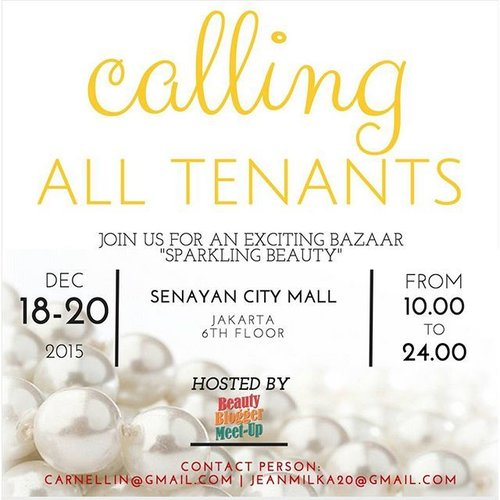 Calling all tenants!!! Beauty products from cosmetics,  Skincare,  makeup, fragrance, beauty supplements,  Hair Care, beauty clinics, spa, treatments, salons to nails, beauty services, beauty photography,  and everything related of Beauty and well being do contact us.  Carnellin@gmail.com  Jeanmilka20@gmail.com  Line ID: Carnellin  #bazaar #beauty #senayancity #beautybazaar #makeup #skincare #Jakarta #jualan #bukalapak #clozetteid #clozette