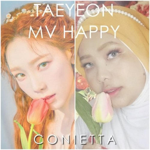 "Happy la la la~Makeup yang simple ternyata juga bisa bikin seger. Salah satunya makeup ala @taeyeon_ss di MV terbarunya ""Happy""......#tutorialbyconietta #kpopmakeuptutorial #kpopmvmakeup #clozetteid #kpopinspiredmakeup #taeyeonhappy"