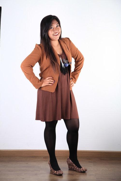 Brown Dress with Brown Blazer :)