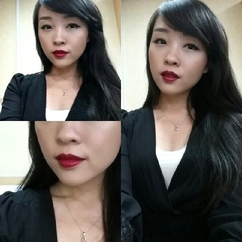 My look yesterday, adaptation from 'Maleficent'... to OFFICE (yes I wonder how much ladies here thinking how crazy am I)Lipstick YSL Rouge Pur Couture Vernis a Levres shade 33 (Bourgogne Artistique) Spring Edition#me #asian #asiangirls #selfies #selca #selfportrait #selfinger #lbd #littleblackdress #redlips #redlipstick #maleficent #longhair #evil #lipsticklover #lipstickoftheday #fdbeauty #ysl #vernisalevres #glossystain #bourgogneartistique #yslcosmetics #clozettedaily #clozetteid #beautyaddict