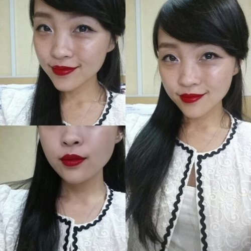 This is 'Snow White' kinda day.... White tanktop with white blazer, black peplum skirt, and BRIGHT red lipstick... Pardon my skin because I'm NOT putting bb cream, concealer,foundie, powder, or whatsoever... I'm trying my @esteelauder #microessence since yesterday, and I will not putting any foundie or concealer until at least 4 weeks.. Just curious about how my skin turnout to be after 4 weeks... Back to the topic.. Can you believe I'm wearing MAC Ruby woo (my favorite) and YSL Glossy Stain no. 9 (Rouge Lacque).. so I can tell you its a BRIGHT BOLD red... and it instantly brightened up my complexion.... #faceoftheday #fotd #lipsticklover #lipstickjunkie #lipsoftheday #lipstickoftheday #asiangirls #longhair #redlips #red #redlovers #maccosmetic #rubywoo #yslcosmetics #glossystain #vernisalevres #rougelaque #clozetteid #fdbeauty #femaledaily