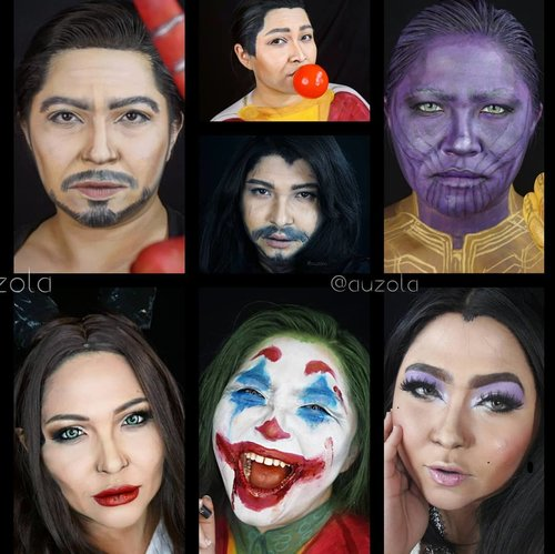 Some of #auzolamakeupcharacter this 2019, part 1. . Can you guess em all?😁 . . . . #tonystark #shazam #jonsnow #thanos #maleficent #JOKER #lilycollins #halloweenmakeup #lookalike #charactermakeup #halloween #wakeupandmakeup #makeupforbarbies  #indonesianbeautyblogger #undiscovered_muas @undiscovered_muas #clozetteid #makeupcreators #indonesianbeautyblogger #slave2beauty #coolmakeup #make.up.vines  #beautybloggertangerang #indobeautysquad #indobeautygram #fdbeauty #tampilcantik #mua_army #fantasymakeupworld #100daysofmakeup
