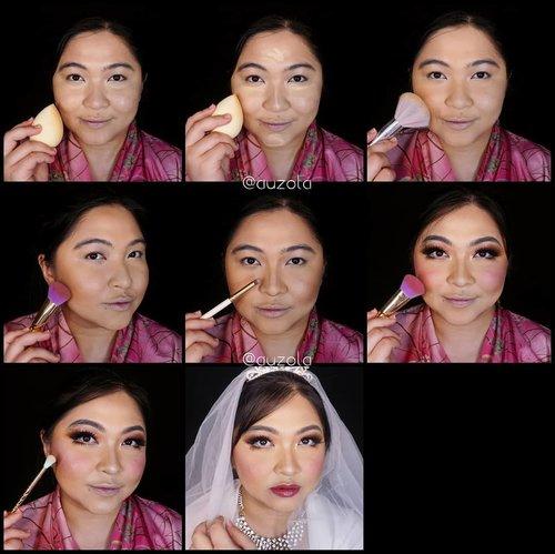 Wedding makeup tutorial!💐💍 . 💐Face💐 1. Gunakan primer dan foundation secara merata. 2. Tambahkan concealer pada bagian yang membutuhkan. 3. Gunakan bedak pada keseluruhan wajah, agak banyak pada bagian bawah mata (semi baking, atau boleh full baking) 4. Tambahkan shading dibagian pipi, rahang, jidat. 5. Shading juga bagian hidung. 6. Setelah eyemakeup selesai (SWIPE), gunakan blush on warna pink pada pipi. 7. Tambahkan highlighter pada tulang pipi, hidung dan sedikit pada cupid bow bibir. 8. Aplikasikan lipstick dan tambahkan gloss. Gunakan gown dan aksesoris wedding, selesai! . 💐Eyes💐 1. Bentuk alis menggunakan pinsil alis dan rapikan menggunakan concealer. 2. Pulaskan eyeshadow berwarna terracotta pada keseluruhan kelopak. 3. Aplikasikan warna coklat yang agak gelap pada ujung luar mata dan blend. 4. Gunakan glitter eyeshadow pada kelopak. 5. Shading garis mata bagian bawah menggunakan eyeshadow coklat yang sama. 6. Gunakan eyeliner putih pada waterline. 7. Aplikasikan eyeliner. 8. Gunakan mascara. 9. Aplikasikan bulu mata palsu yang agak tebal dan panjang pada bagian atas mata dan sedikit pada bagian bawah mata. Done! . . . . #weddingmakeupcollab #makeupforbarbies #wedding #weddingmakeup #weddingmakeupideas #weddingmakeupjakarta #indonesianbeautyblogger #undiscovered_muas #fdbeauty #cchannelbeautyid @undiscovered_muas #clozetteid #makeupcreators #slave2beauty #coolmakeup #makeupvines #tampilcantik #boldmakeup #100daysofmakeup