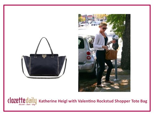 Katherine Heigl with Valentino Rockstud Shopper Tote Bag