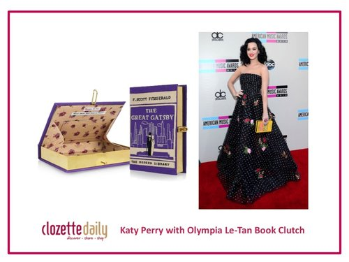 Katy Perry with Olympia Le-Tan Book Clutch
