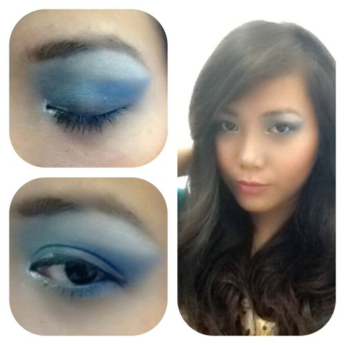 Tried blue eye makeup.. still not perfect thou. I'm still learning :)