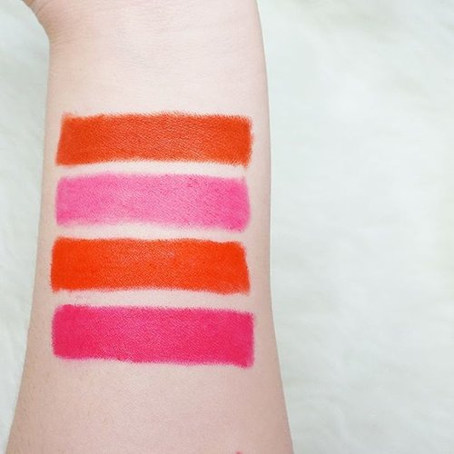 Swatches of @vovmakeupid All Day Strong Lip Color  From top to bottom : Smoke Red Pingvely Orange Gangster Magentasome  Super pigmented with matte finish which is rare for Korean cosmetics . . . . . #vov #vovalldaystrong #vovmakeupid #vovcosmetics #lipcolor #clozetteid #clozetteambassador #velvetlips  #beautybloggerindonesia #beautybloggerid  #fdbeauty #lynebeauty #kbeauty #kbeautyaddict #wonderfullyn #bblogger #뷰티 #뷰티크리에이터 #뷰티블로거 #핑크립스틱 #매트 #셀카 #립스틱  #메이크업아티스트 #스트릿스타일 #패션블로거