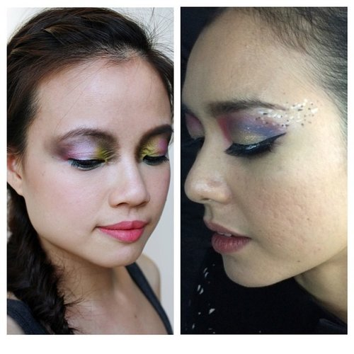 Left was my submission to @shuuemuraid that made it to the Top 10, and right was tonight's makeup (glue not dried yet). I'm very proud of both of my works, no regrets! Thanks @wiwinsunardi and @juanitaharyadi #clozetteid #makeup #makeupaddict #makeupartist #jakartamua #indonesianblogger #indonesianbeautyblogger #mua #shuuemura #bravebeauty #colors #beauty #beautyjunkie #asian #girls #model #colorful
