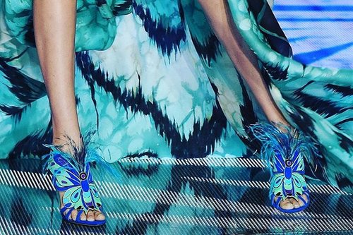 My favorite pair of @Brian_Atwood heels from Gigi Hadid's runway debut at 2015 Victoria's Secret Fashion show: feather embellished butterfly sandals  #Clozette #ClozetteID