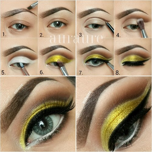 """#motd Yellow Cut Crease Makeup pictorial (Blending is the key!)Contacts from @desioeyes """"Dessert Dream"""" & Anastasia Brow & Lavish palette  & Glamour doll eyes eyeshadow . Instagram @auraure"""