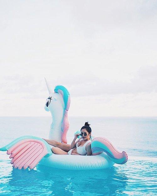 Me? A mermaid? Grow up baby they don't exist I'm a unicorn.  _ _ #clozetteambassador #clozetteid #balilyfe #karmakandara #summervibes #unicorn #ponyfloaties #unicornfloaties #bikinilyfe #bestholiday #summerholiday
