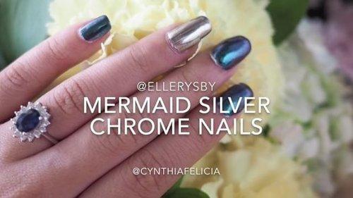 On video: My mermaid silver chrome nails by @ellerysby 💙💙 __#clozetteid #nailjunkie #mermaidchrome #chromenails #nailpolishaddict #chromepowder #mermaidvibes #nailsonfleek