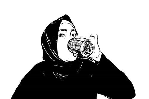 ___Yuk ah ngopaaay dulu, yakin mau jadi coffee addict (lagi)?🙃🙃🙃___#self#portrait #ClozetteID #sketch#vectorart#bw#coffeeaddict