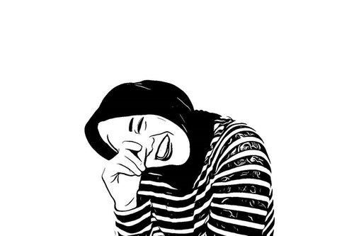 ___Seseuriannya jangan berlebihan, seuri aja. Karena yang berlebihan itu tidak baik.___Seuri a.k.a. Laugh.___#self#laugh #portrait #ClozetteID #sketch#vectorart#bw