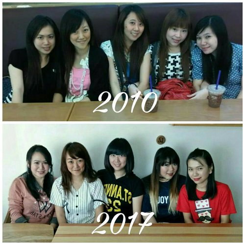 2010 VS 2017, only @wahyunihadi lost weight 😅😅😅. The old picture was taken 7 years ago, but our friendship began much MUCH longer than that.  I started became friends with @chatykatzz83_grace when i was 12 😅, but became BFF with her and the rest of the girls since i was 14... Which is almost 20 years ago 😮. FYI, being my friend is not  easy. I am a human, i have many flaws. But one thing that i am not : i'm never, ever a bad friend. If you gain my love, my trust, my respect-believe me when i say i would pretty much do anything for you.  My friendships (the real ones) always stand the test of time.  A lot of time people think that i am fake or being a hypocrite because i can hate a person one minute, but love them again in the next. And when i am angry, i explode. I rant, i say mean things. But hating someone's act is by no means hating them to the core, and that's what being real friends mean.  I am the type of person who always forgive, and when i do, i try my best to be a good friend again.  So if you've ever been my friend, then you would know who i really am-for i have never worn a mask. If you believe in every single thing someone else says about me without clarifying it with me, that makes you a bad friend, and i am better off without you.  So here's for true friends, for the real ones will always stay.  PS : we took so many shots just to recreate this simple pose WTF. Better not try a harder pose next time 😓. #bff #bff👭 #bffgoals #squad #squadgoals #mybestfriendsarebetterthanyours #20yearsandcounting #girls #ladies #mybitches #bffarefamily #clozetteid #clozettedaily #lifestyle #hangout  #familythatichose  #ilovemybffs #surabayacafe #surabaya #influencer #friendship #realfriendship #throughthetestoftime #realfriends #realfriendsstay #fuckfakefriends #theycanburninhell #nottwofacedbitches #abitchisbetterthanfakes