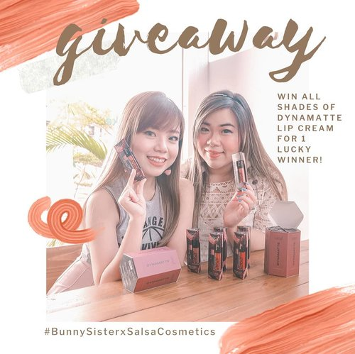 Yayyyy Bunny Sisters Giveaway time datang lagi! Kali ini aku, @deuxcarls dan @salsacosmetic mau kasih 1 set produk terbaru Salsa Cosmetic : Dynamatte Lip Cream 😍😍😍! As usual, out rules are simple :1. Follow me (obviously,  and don't unfollow after the giveaway or imma block ya!) @deuxcarls @salsacosmetic2. Tag 3 temanmu di komen post ini untuk ikutan giveaway ini.3. You can only enter using your personal account (not online shop/giveaway account/etc) and make sure it's not locked.6. Giveaway is open until September 30th midnight (only for Indonesian resident or at least who owns Indonesian address). Good luckkk! #giveaway #giveawayindonesia #giveawayid #bagibagihadiah #hadiahgratis #makeupgratis #giveaways #clozetteid #aksesorisgratis  #catokangratis #infogiveaway #sbybeautyblogger #bloggerceria #beautynesiamember #blogger #bblogger #bbloggerid #beautybloggerindonesia #beautybloggerid #influencer #beautyinfluencer #makeup #beauty #freeproducts #fashion #bloggerperempuan #produkgratis #gratisan