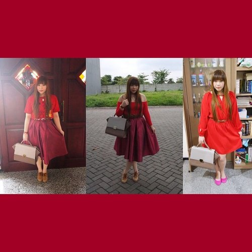 #blogupdate #chinesenewyear #cny #outfits #red http://www.pinkandundecided.blogspot.com/2015/02/shades-of-red.html #fashion #ootd #clozetteid #clozetteidgirl #reddress #flareskirt #tafettaskirt #redskirt #blogger #indonesianblogger #surabayablogger #fashionblogger #indonesianfashionblogger #surabayafashionblogger