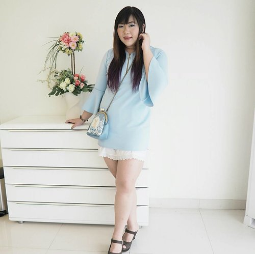 Yesterday's Soft Blue outfit for Clariskin's event 😊And yes, i wore an underslip because the dress is way too short for me!#ootd #ootdid #ootdindo #ootdindonesia #fashion #personalstyle #springcolors #springfashion #personalstyleblogger #clozetteid #clozettedaily #blogger #bblogger #bbloggerid #indonesianblogger #surabaya #surabayablogger #influencer #surabayainfluencer #influencersurabaya #effyourbeautystandards #notasize0 #comfortableinmyownskin  #spring #springfashion #girlygirl #softblue #bellsleeve