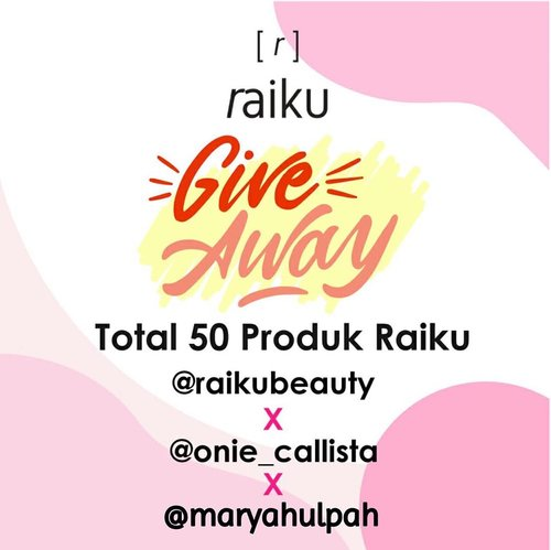 """‼️ [GIVEAWAY] ‼️ @raikubeauty x @onie_callista x @maryahulpah  Hi guys! 🙋  Aku, @raikubeauty dan influencer lainnya mau ngadain giveaway dengan total hadiah 50 orang pemenang nihh! Cara nya gampang banget! - Rules: 1. Pastikan akun kamu jangan diprivate 2. Follow @maryahulpah, @raikubeauty & @onie_callista 3. Comment """"I want ... (nama produk yang kamu mau, beserta shade nya kalo ada) dengan hastag #raikuxmaryahulpah di foto ini 4. Mention 3 teman kamu, ajak ikut giveaway ini. Kalian boleh comment berkali - kali dengan teman yang berbeda. 5. Aktif di instagram @maryahulpah, @raikubeauty, dan @onie_callista. Semakin kamu kenotice, kesempatan menang km makin besar!  Giveaway ini berlangsung dr tanggal 01 April 2020 sampai 12 April 2020  Pengumuman pemenang akan di share di IG @onie_callista.  Goodluck! 💕 - #raikubeauty #raikuid #raikugiveaway #raikuxoniecallistaGA #raikuxmaryahulpah #giveawayid"""