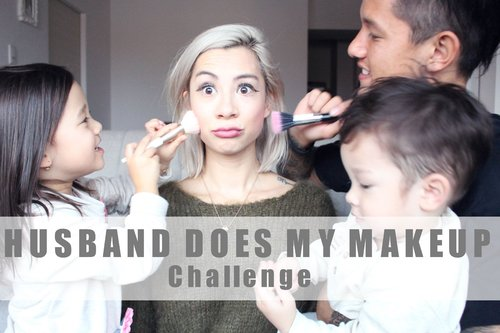 HUSBAND DOES MY MAKEUP + KIDS ARE HELPING #teamBachdim - YouTube