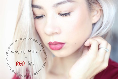 TUTORIAL : EVERYDAY MAKEUP  WITH RED LIPS - YouTube