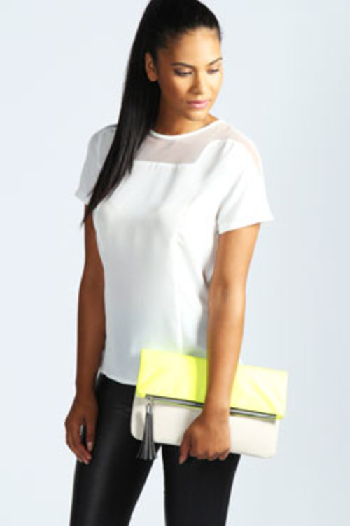 Eden Fitted Blouse With Mesh Panel Neck at boohoo.com