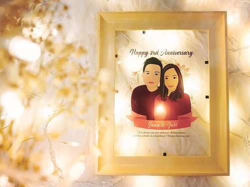 I'll choose you over and over, without pause, without a doubt, in a heartbeat. I'll keep choosing you ❤Thankyou @pomegrane_project for this beautiful artworks 😘 #jujucouple. #happyanniversary #anniversarygift #artworks #custompictureframing #customgift #clozetteid #anniversarygiftideas #giftideas