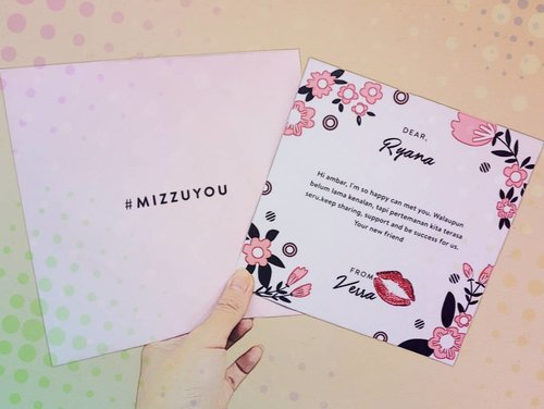 - The greatest healing therapy is friendship and love -  Thank you @msverra #mizzuyou too ♥ #SociollaXMizzu #Sociolla #MizzuCosmetics #LoveLetter #Friends #ClozetteID