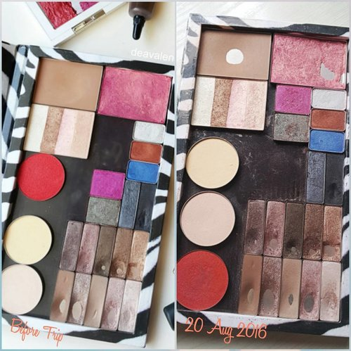 Just want to share a picture of my Z-Palette. So this is how it looks like after approximately a month trip. Some have been used a lot, some not. Will share story and more pics once I reach home next month 😄  #clozetteid #clozettestar #makeupmess #makeupjunkie #makeupaddict #makeuphoarder #makeuplover #beautyjunkie #indonesianbeautyblogger #fdbeauty #luxurymakeup #highendmakeup #projectpan #zpalette #panning #hitpan #panporn