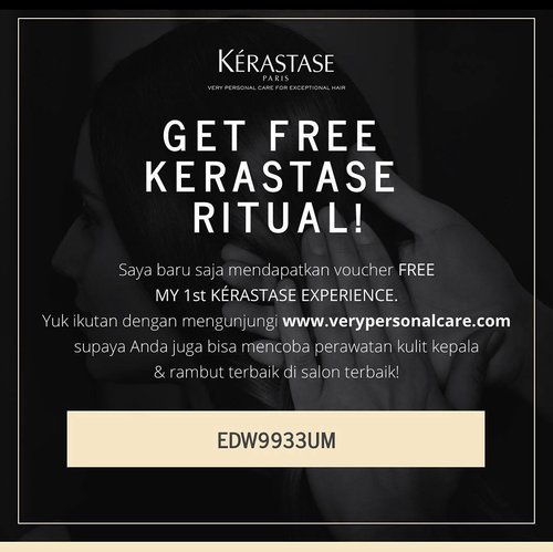 Free treatment valued Rp250K from Kerastase! Just click www.verypersonalcare.com, fill the form (name, email, mobile number) and submit referral code: EDW9933UM.  You can choose the selected hair saloon near you. The voucher will be sent directly to your email! . . . #kerastase #kerastaseid #verypersonalcare #kerastaseexperience #clozetteID