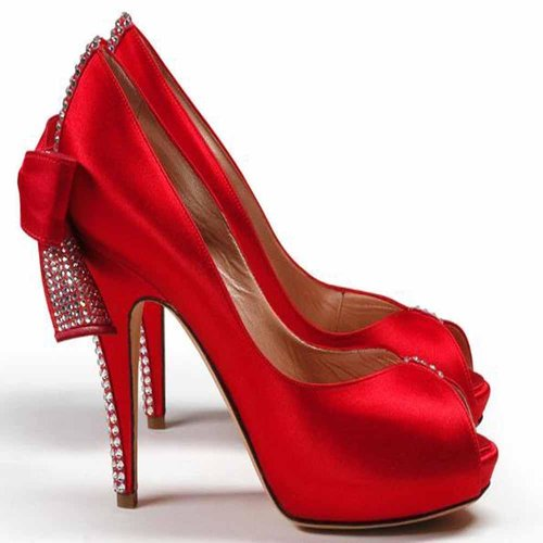 Valentines Red Party Wear High Heels Shoes