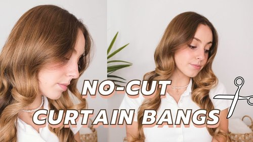 CURTAIN BANGS WITHOUT CUTTING! (Hack to Style Curtain Bangs Without Cutting Your Hair) - YouTube