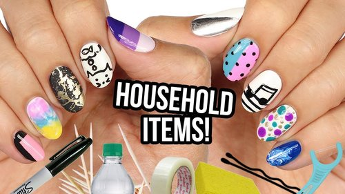 10 Nail Art Designs Using HOUSEHOLD ITEMS! | The Ultimate Guide #7 - YouTube