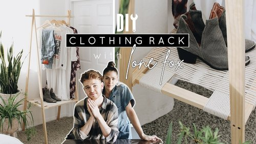 DIY Wooden Clothing Rack + Woven Shelf with LONE FOX! - YouTube