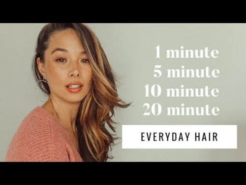 My 1, 5, 10, 20 Minute Everyday Hair Tutorials | Aja Dang - YouTube
