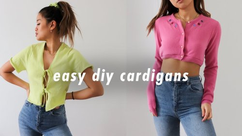 easy diy cardigans! | thrift flip + how to resize sweaters - YouTube