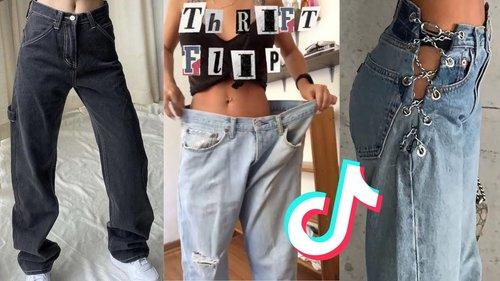 thrift flip ideas | sewing diy jeans on tiktok 👖 ✨ - YouTube