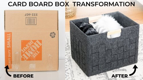 DIY Storage Box - from a Cardboard Box into a Pretty Felt Bin! - YouTube