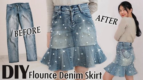 DIY Pearl Flounce Denim Skirt from Your Old Jeans | DIY Pants | Clothes Transformation #thriftflip - YouTube