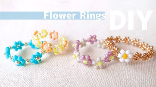 DIY Beaded Flowers Patterns! How to make Rings|tutorial - YouTube