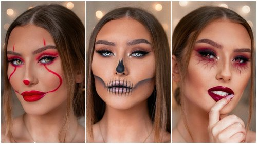 QUICK & EASY LAST MINUTE HALLOWEEN MAKEUP LOOKS - PENNYWISE, SKULL & MORE | Hannah Renée - YouTube