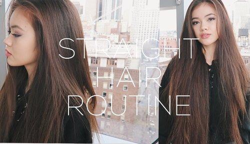 Straight Hair Routine + Volume Hair Tips | viviannnv - YouTube