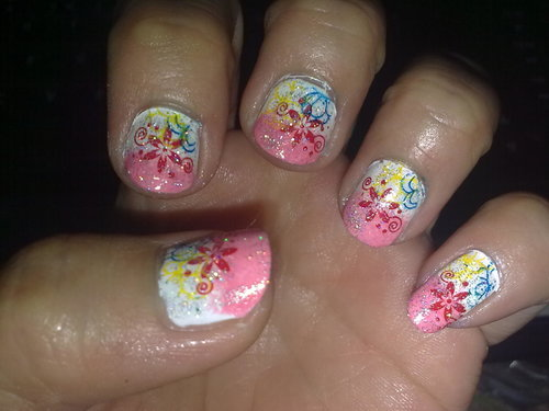 Gradation nail stamps accidentally gorgeous...just like batik i think :D