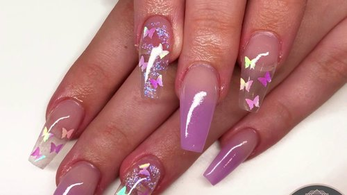Acrylic nail tutorial | butterfly design - YouTube