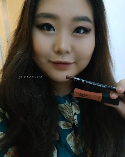 """You can't keep changing men, so you settle for changing your lipstick."" . . .  Sudah lama nggak mainan lipstick. Nyobain ombre pakai @facerecipe Starting Line Up Lip Liner warna ""Currant"" di bagian dalam bibir, lalu dibaur dengan @lorealindonesia Infallible Pro matte yang ""Nudist"". Cocok juga ternyata. . . .  #qotd #quoteoftheday #quotesofinstagram  #clozetteid  #clozetteco #beautycrush #getitbeauty  #뷰스타그램 #뷰티스타그램  #뷰티 #beautygoersid  #makeup #beauty #instamakeup #인스타메이크업 #인스타뷰티  #메이크업 #인스타그램 #makeuplover  #💋 #👄 #립스틱 #💄 #메이크업그램 #메이크업스타그램  #👁 #👀 #rangerratjun #beautyrangers  #indobeautygram"