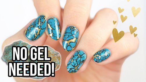 Realistic Turquoise Stone Nails Using REGULAR NAIL POLISH! - YouTube