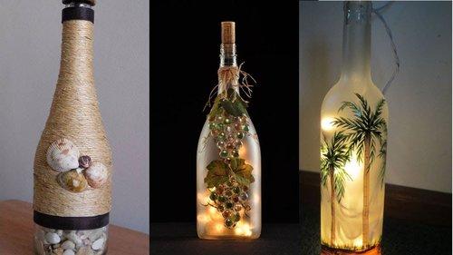 67 DIY Waste Glass Bottle Decoration ! Craft ideas room decor - YouTube